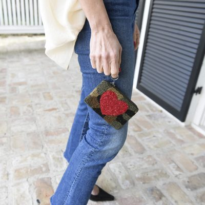 Red Heart & Olive Camo Coin Purse