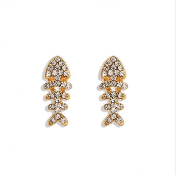 Mini Swarovski Gold Fish Bone Earrings
